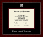 University of Redlands Diploma Frame - Silver Engraved Medallion Diploma Frame in Sutton