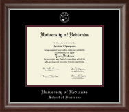 University of Redlands Diploma Frame - Silver Embossed Diploma Frame in Devonshire