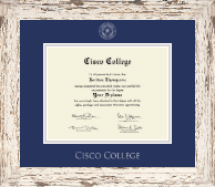 Cisco College Diploma Frame - Silver Embossed Diploma Frame in Barnwood White
