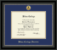 Blinn College Diploma Frame - Gold Engraved Medallion Diploma Frame in Noir