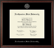 Northeastern State University Tahlequah Diploma Frame - Silver Embossed Diploma Frame in Studio