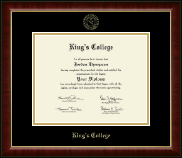 The King's College at Pennsylvania Diploma Frame - Gold Embossed Diploma Frame in Murano