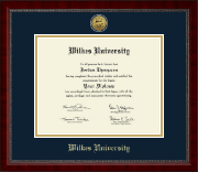 Wilkes University Diploma Frame - Gold Engraved Medallion Diploma Frame in Sutton