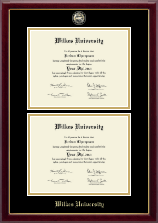 Wilkes University Diploma Frame - Masterpiece Medallion Double Diploma Frame in Gallery