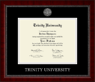 Trinity University Diploma Frame - Silver Engraved Medallion Diploma Frame in Sutton