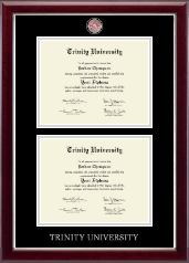 Trinity University Diploma Frame - Masterpiece Medallion Double Diploma Frame in Gallery Silver