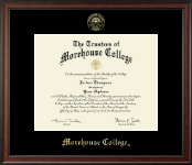 Morehouse College Diploma Frame - Gold Embossed Diploma Frame in Studio