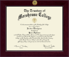 Morehouse College Diploma Frame - Century Gold Engraved Diploma Frame in Cordova
