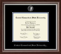 Central Connecticut State University Diploma Frame - Silver Embossed Diploma Frame in Devonshire