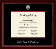 Carthage College Diploma Frame - Silver Engraved Medallion Diploma Frame in Sutton
