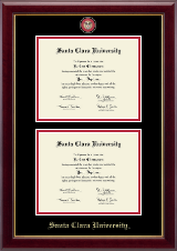 Santa Clara University Diploma Frame - Masterpiece Medallion Double Diploma Frame in Gallery