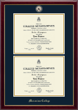Moravian College Diploma Frame - Masterpiece Medallion Double Diploma Frame in Gallery