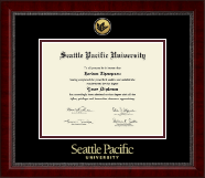 Seattle Pacific University Diploma Frame - Gold Engraved Medallion Diploma Frame in Sutton