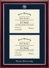 Xavier University Diploma Frame - Masterpiece Medallion Double Diploma Frame in Gallery Silver