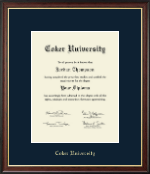 Coker University Diploma Frame - Gold Embossed Diploma Frame in Studio Gold