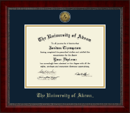 The University of Akron Diploma Frame - Gold Engraved Medallion Diploma Frame in Sutton