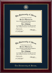 The University of Akron Diploma Frame - Masterpiece Medallion Double Diploma Frame in Gallery