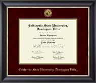 California State University Dominguez Hills Diploma Frame - Gold Engraved Medallion Diploma Frame in Noir