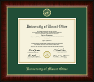 University of Mount Olive Diploma Frame - Gold Embossed Diploma Frame in Murano