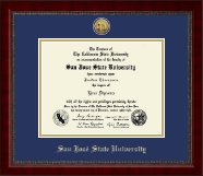 San Jose State University Diploma Frame - Gold Engraved Medallion Diploma Frame in Sutton