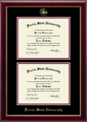 Ferris State University Diploma Frame - Double Diploma Frame in Gallery