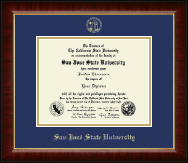 San Jose State University Diploma Frame - Gold Embossed Diploma Frame in Murano