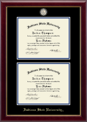 Indiana State University Diploma Frame - Masterpiece Medallion Double Diploma Frame in Gallery