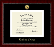 Linfield College Diploma Frame - Gold Engraved Medallion Diploma Frame in Sutton
