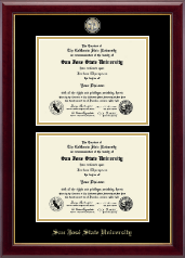 San Jose State University Diploma Frame - Masterpiece Medallion Double Diploma Frame in Gallery