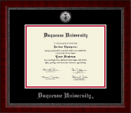 Duquesne University Diploma Frame - Silver Engraved Medallion Diploma Frame in Sutton
