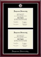 Duquesne University Diploma Frame - Masterpiece Medallion Double Diploma Frame in Gallery Silver