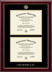 Lindenwood University Diploma Frame - Masterpiece Medallion Double Diploma Frame in Gallery