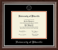 University of Pikeville Diploma Frame - Silver Embossed Diploma Frame in Devonshire