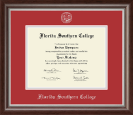 Florida Southern College Diploma Frame - Silver Embossed Diploma Frame in Devonshire