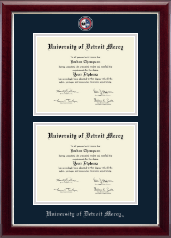 University of Detroit Mercy Diploma Frame - Masterpiece Medallion Double Diploma Frame in Gallery Silver