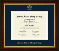 Mount Saint Mary College Diploma Frame - Gold Embossed Diploma Frame in Murano