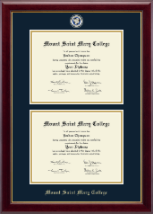 Mount Saint Mary College Diploma Frame - Masterpiece Medallion Double Diploma Frame in Gallery