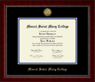 Mount Saint Mary College Diploma Frame - Gold Engraved Medallion Diploma Frame in Sutton