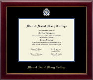 Mount Saint Mary College Diploma Frame - Masterpiece Medallion Diploma Frame in Gallery