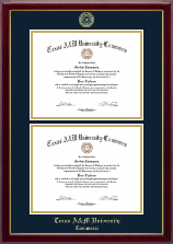 Texas A&M University - Commerce Diploma Frame - Double Diploma Frame in Gallery