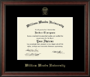 William Woods University Diploma Frame - Gold Embossed Diploma Frame in Studio