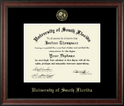 University of South Florida Diploma Frame - Gold Embossed Diploma Frame in Studio