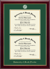 University of South Florida Diploma Frame - Double Diploma Masterpiece Medallion Frame in Gallery