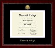 Nazareth College Diploma Frame - Gold Engraved Medallion Diploma Frame in Sutton