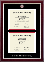 Nicholls State University Diploma Frame - Masterpiece Medallion Double Diploma Frame in Gallery Silver