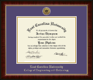 East Carolina University Diploma Frame - Gold Engraved Medallion Diploma Frame in Murano
