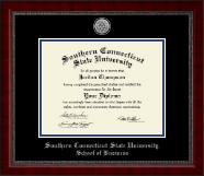 Southern Connecticut State University Diploma Frame - Silver Engraved Medallion Diploma Frame in Sutton