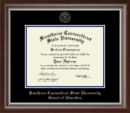 Southern Connecticut State University Diploma Frame - Silver Embossed Diploma Frame in Devonshire