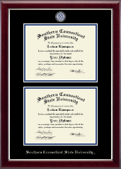 Southern Connecticut State University Diploma Frame - Masterpiece Medallion Double Diploma Frame in Gallery Silver
