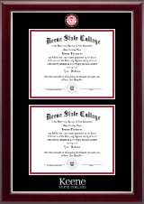 Keene State College Diploma Frame - Masterpiece Medallion Double Diploma Frame in Gallery Silver